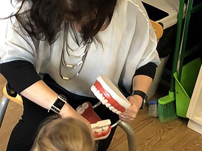 teaching dental hygiene at woodend